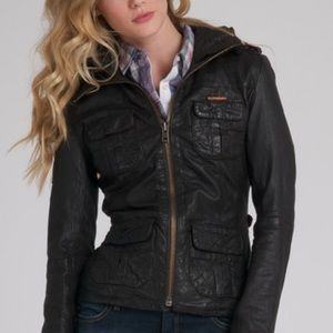 Superdry Ramona brown leather jacket